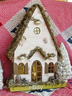 Large Mossy Birch Bark Christmas Cottage Paper Mache Lighted House