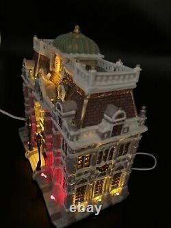 Lemax Caddington Village Exterior Lighted Building Public Library LIGHTS BLUE