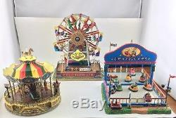 Lemax Carnival Lot Of 3-Belmont Carousel, The Starburst, Crazy Cars- WORKS! Nice