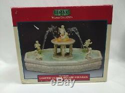 Lemax LIGHTED VILLAGE SQUARE FOUNTAIN Cherubs Christmas Village Piece 2001 Water