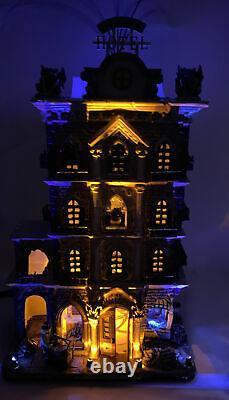 Lemax Spooky Town Halloween Village GRIM HOTEL Lights & Motion IN BOX