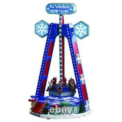 Lemax THE SPINNING SNOWFLAKE Carnival Ride Animated & Music Holiday Village NEW