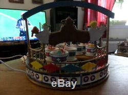 Lemax THE TEA CUPS Animated Lighted Carnival Ride withSounds WithBox Tested