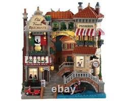Lemax Village Collection VENICE CANAL SHOPS FACADE Battery Operated # 85318 NEW
