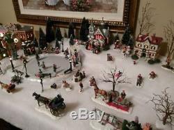 Lighted Christmas Village Animated Skating Pond 11 houses, 200 figures, more