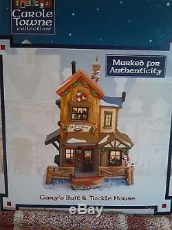 Lot LeMax Carole Towne Collection 4 Buildings Bridge Christmas Tree Wagons