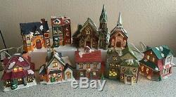 Lot of 9 VTG Christmas Victorian Village Collectible Porcelain Houses WithLights