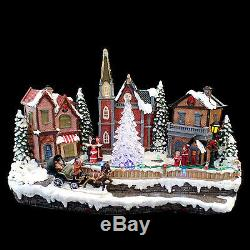 MUSICAL CHRISTMAS VILLAGE with REVOLVING'CRYSTAL' TREE & LED LIGHTS / SEE VIDEO