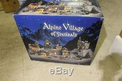 Massive Set Alpine Village of Festivals New in Box 6 Houses & Many Figurines