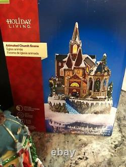 New Christmas Animated Church Lighted Village Fiber Optic Musical Tree 15.6