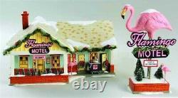 New Dept 56 The Flamingo Motel, 2 Piece Lighted, Original Snow Village #799930
