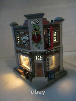 New Lemax 2015 City Tattoo Parlor Shop Lighted Christmas Village House RARE
