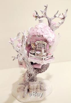 OOAK Dept 56 Reindeer Care & Repair Tree Shabby Pink Rose Chic Christmas Village