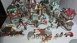 Porcelain Victorian Christmas village set houses and figurines Lot Of 40