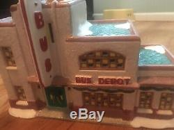 RARE! 1993 Christmas Valley Collectible Seasonal Specialties Lighted Bus Depot