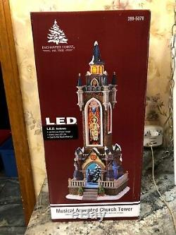 RARE Church Tower Cathedral Lighted Animated Music 8 Songs Christmas Village 19