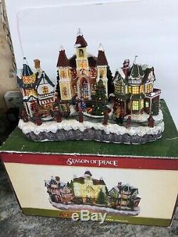 RARE Cracker Barrel Fiber Optic Christmas Village Season of Peace Animated 13