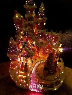 RARE PULEO FIBER OPTIC GINGERBREAD HOUSE CANDY CHRISTMAS Village Waterfall Spins