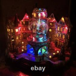 Rare 16 Animated Lighted Fiber Optic Christmas Village With Fountain Musical