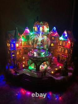 Rare 16 Christmas Animated Village Fountain Sound Musical Light Fiber Optic New