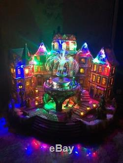 Rare 16 Christmas Animated Village Fountain Sound Musical Light Fiber Optic New