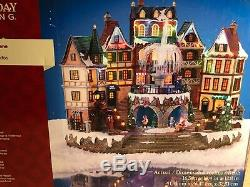 Rare 16 Christmas Animated Village Fountain Sound Musical Light Fiber Optic See