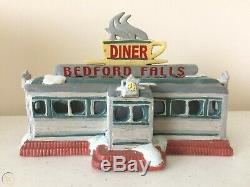 Rare Enesco It's A Wonderful Life Illuminated Bedford Falls Diner Series VI