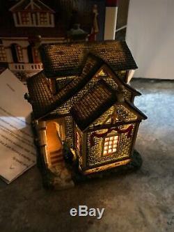 Rare LEMAX Caddington Christmas VILLAGE Oliver House Porch Farmhouse Mint In Box