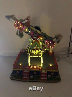 Rare Lemax Village The Zinger Animated Carnival Ride Lighted With Adapter