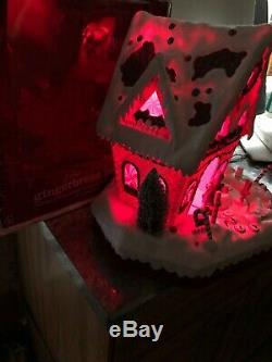 Rare New Lighted Animated Gingerbread Peppermint Candy Cane House Christmas Tree