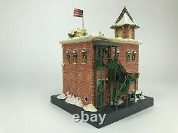 Rare and Retired Disney Village Light Up Fire Station MINT CONDITION