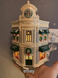STARBUCKS COFFEE Dept 56 Christmas Holiday Snow Village Lighted House 54859 EUC