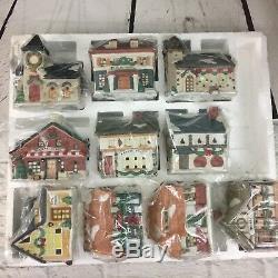 Santa's Best Americana Porcelain Christmas Village Collectibles 10 Pc