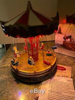St Nicholas Square Animated Carousel Swing Lighted Carnival Christmas Village