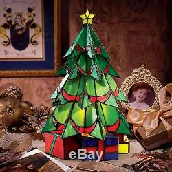 TF10019 Christmas Tree Tiffany Style Stained Glass Lamp Illuminated Sculpture