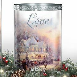 Thomas Kinkade Lighted Peace Love Joy Christmas Holiday Centerpiece NEW