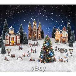 Town Square Christmas Village Scene 30-Piece Set Lights, Music