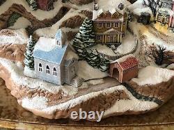 VTG Christmas lighted winter mountain village scene houses trains ceramic decor