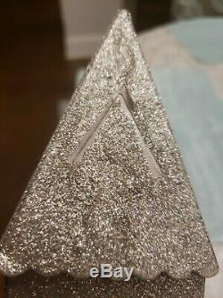 Village Church Chapel Lighted Champagne Glitter Cardboard with Bush Trees 16x8.5