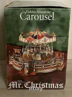 Vintage 1997 Mr Christmas Village Holiday Around The Carousel & Boardwalk