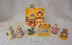 Vintage Christmas Lighted Ginger Bread House Boy Girl Tree Snowman 7pc Set RARE