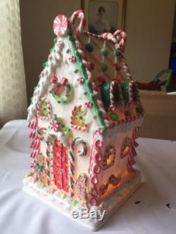 Vintage Cracker Barrel Light Up Snow Frosted Large Candy House Gingerbread YUM
