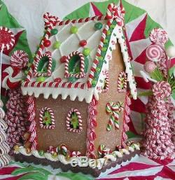 Vintage Style Large Faux Gingerbread House Christmas Cottage