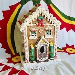 Vintage Style Large Tall Gingerbread House Gumdrop Trees Christmas Cottage Putz