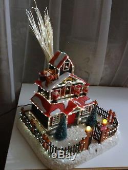 Vtg Holiday Decor Santa Fiber Optic Xmas House Elfs Elves Musical Village RARE
