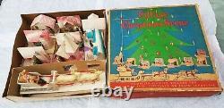 WITH BOX Vintage Putz Christmas Village with SANTA & SLEIGH Reindeer Church Rare